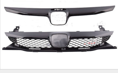 Front Center Grille For Honda Civic 09-11 Sedan 4Dr SI Style Glossy Black Trim