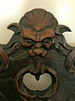 Antique Victorian oak hall chair with carved lions head and barley twist legs