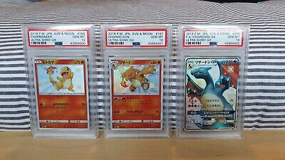 Pokemon Ultra Shiny GX Charmander, Charmeleon, Charizard GX PSA 10 Hidden Fates