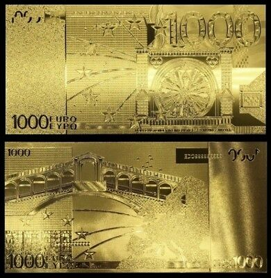 Billet plaqué OR ( GOLD Plated Banknote ) - 1 000 ( Mille ) Euros !