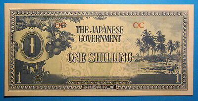 1942 Oceania Japanese Invasion Money JIM One Shilling OC =UNCIRCULATED=