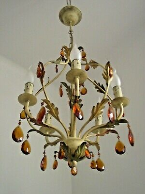 Vintage Italian Leaf Tole Ware 5 Arm Cage Chandelier With Amber Crystals 1528