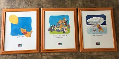 Joblot of 3 Large Wooden Framed Disney Winnie The Pooh Pictures