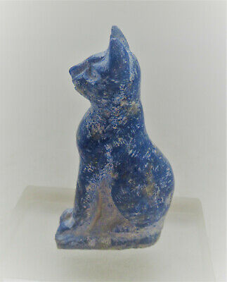 Beautiful Ancient Egyptian Lapis Lazuli Bastet Statuette Very Rare