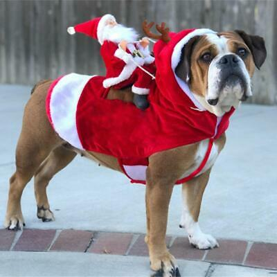 Pet Dog Cat Puppy Christmas Costume Clothes Santa Claus Riding Deer Cosplay