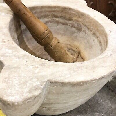 French Xl marble pestle and mortar
