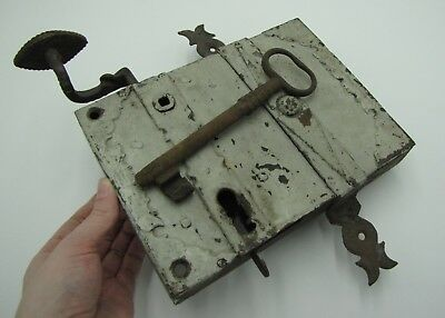 Antique Large Rare Iron Door Lock with Working Key / Door Knob / Handle