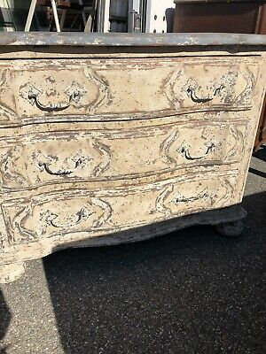 Antique french Louis 19th century serpentine painted chest of drawers