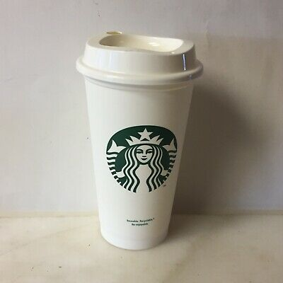 New Starbucks Reusable Cup White Plastic Travel To Go Hot Coffee Grande16 Oz
