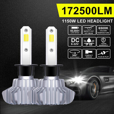 H1 172500LM LED Headlight Globes COB Bulbs Kit Low Beam Replace Xenon Halogen