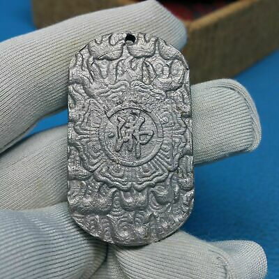 Perfect Meteorite Muonionalusta Pendant Buddhist 2 Different Sided Symbol Amulet