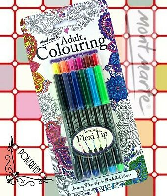 FREE SHIP Mont Marte Adult Colouring 12 colors Brush Markers Flexi Tip