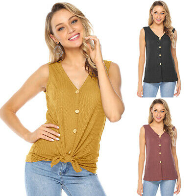 Womens Casual Sleeveless Vest Shirts V-neck Buttons Tops Summer Holiday Blouse