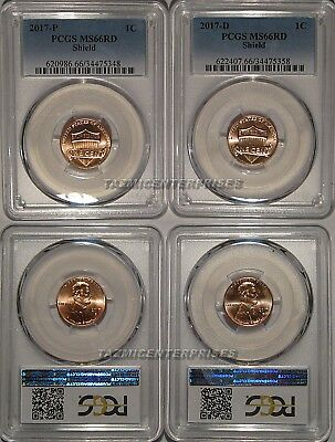 2017 P /& D Lincoln SHIELD Cent 2 Coin Set 1c PCGS MS66RD