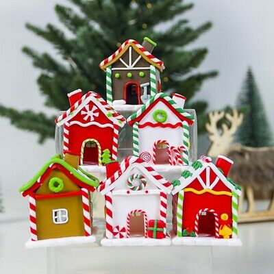 Polymer Clay Christmas Village.Gingerbread House Man Christmas Tree Decoration Polymer Clay