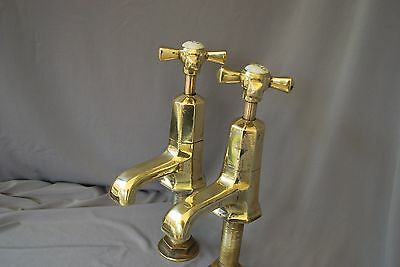 Old Basin Taps Art Deco Antique Brass Reclaimed  Fully Refurbished Basin Taps *