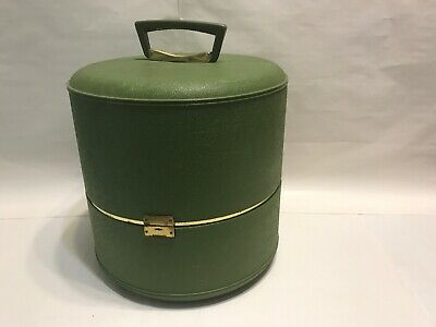 "Vintage 13"" Retro Wig Storage Carrying Case - Green Hard Shell Travel Hat Box"