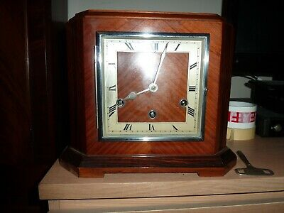 A Continental  Walnut Westminster Chiming 8 Day Mantel Clock Needs Fettling