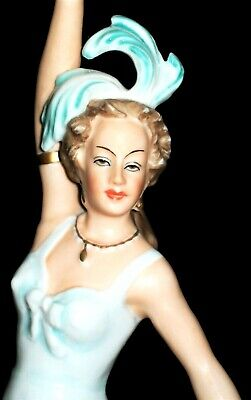 Antique German Dresden Art Deco Exotic Lady Dancer Porcelain Figurine