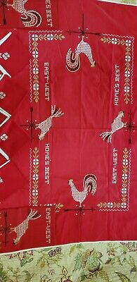 Vintage Red Cross Stitch Table Cloth w/ Rooster, Words & Design, Towels, Napkins
