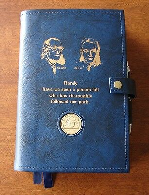 Alcoholics Anonymous AA Big Book 12 & 12 Deluxe LARGE PRINT Founders Blue Cover