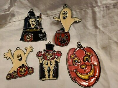 5 Vintage Stained Glass Halloween SUN CATCHERS Ghost Witch Pumpkin Skeleton