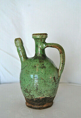Antique Canakkale Turkish Greek ceramic pitcher 19th century