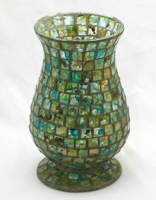 Vintage Antique Mosaic Stained Blown Glass Tiles Hurricane Candle Holder, Vase