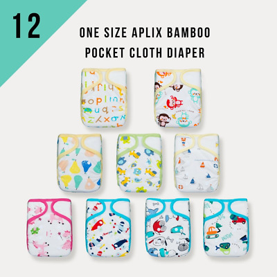 Value Pack! KaWaii12 Aplix Bamboo Cloth Diapers w/24 Mom Bamboo Inserts 8-30 lbs