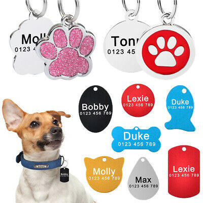 Custom Engraved ID Name Personalized Dog Cat Pet Tags Stainless Steel Paw Bone