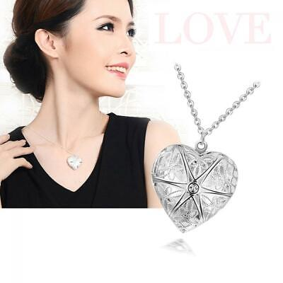 Women Lover Chic Ladies Silver Plated Heart Locket Necklace Chain Pendant