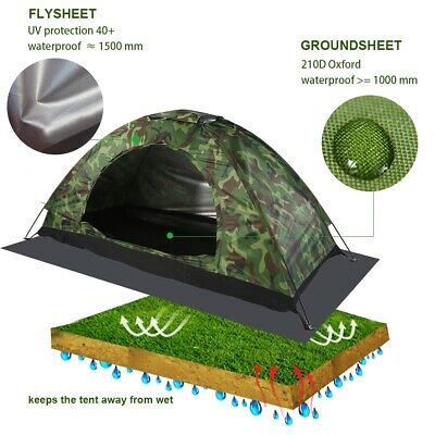 New 1 Person Man Camouflage Tent Single Layer Waterproof Camping Hiking Travel