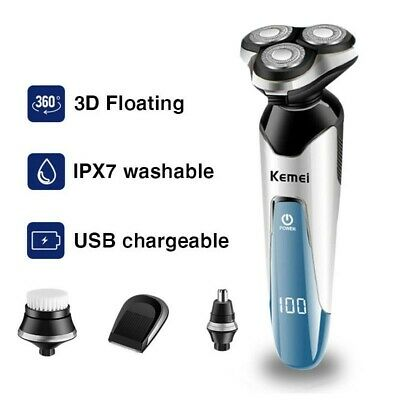KEMEI Men's Electric Shaver Rechargeable Razor Wet/Dry/ Cordless W/Nose Trimmer