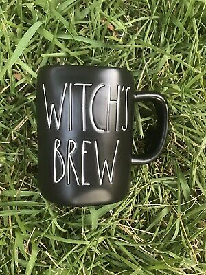 "Rae Dunn LARGE LETTER ""WITCHS/ WITCH'S BREW"" Black Mug Halloween NEW"