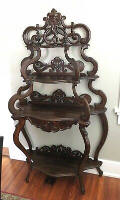 Antique Rococo 19th Century Victorian Carved Rosewood Etagere Shelf With Drawer