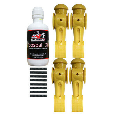 Game Room Guys Foosball Oil & 4 Yellow Tornado Foosball Men with Roll Pins