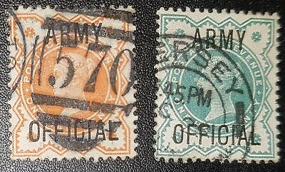 GB QV Army Official SG O41/42 used stamps (No2465)