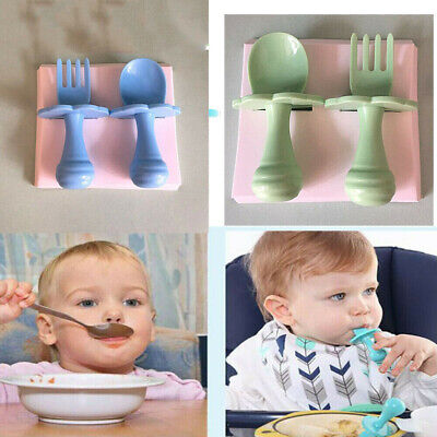 NEW Baby Self Feeding Training Spoon Fork Cutlery Set Safe and Easy to Use A2U0N