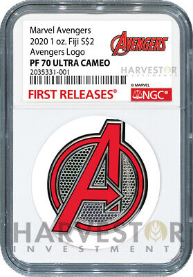 2020 Marvel Avengers Logo Coin - 1 Oz. Silver Coin - Ngc Pf70 First Release