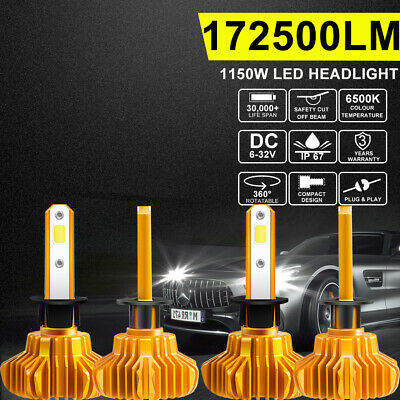 4X H1 LED Headlight Bulbs 6500K White Low Beam 172500LM 1150W Replace Xenon HID