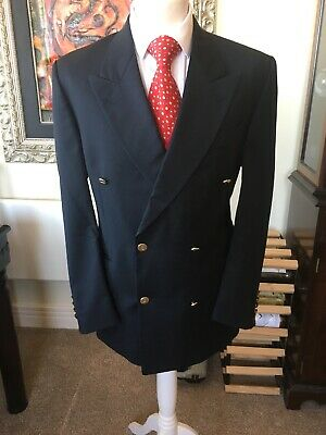 YSL Yves Saint Laurent Navy Blue 42R Traditional Double Breasted Blazer