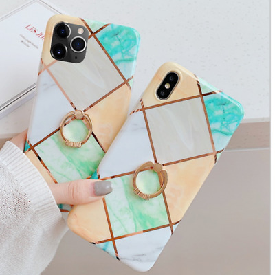 Marble Electroplate Bling Diamond Case Cover Ring Holder For iPhone 11 Pro Max X