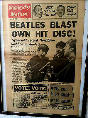 The Beatles Melody Maker Poster Cadre Photo Original 1963