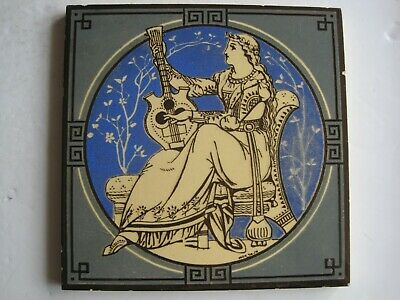 Antique Mintons - Moyr Smith - Classical Figures With Musical Instruments Tile