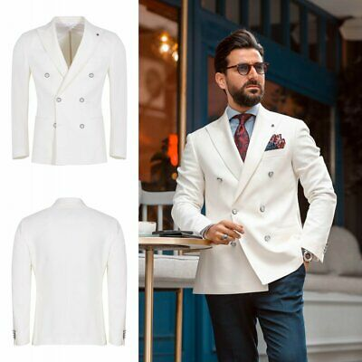 White Wedding Groom Men Suits Double Brested Tailored Fit Formal Tuxedos Blazer