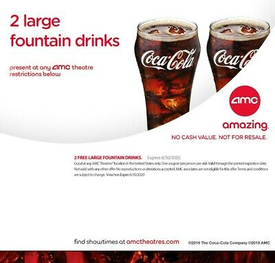 AMC Theatres 2 Large Fountain Drinks - Exp 6/30/2020