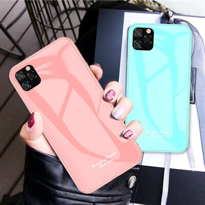 For iPhone 11 Pro Max XS XR Max Luxury Marble Tempered Back Glass Case Cover