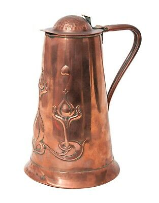 Antique Joseph Sankey Art Nouveau Solid Copper Lidded Water Jug c1905