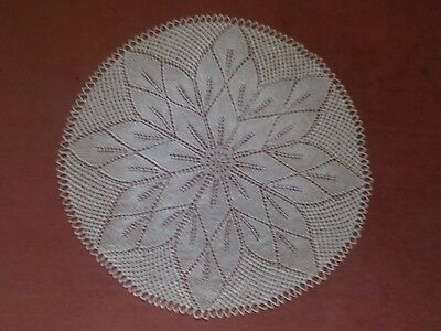 True Vintage Beautiful round lace hand crocheted silky tablecloth 68cm cream