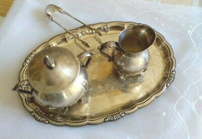 Vintage silver lot VINERS SILVER PLATED TRAY, MILK JUG, SUGAR BOWL and TONGS UK